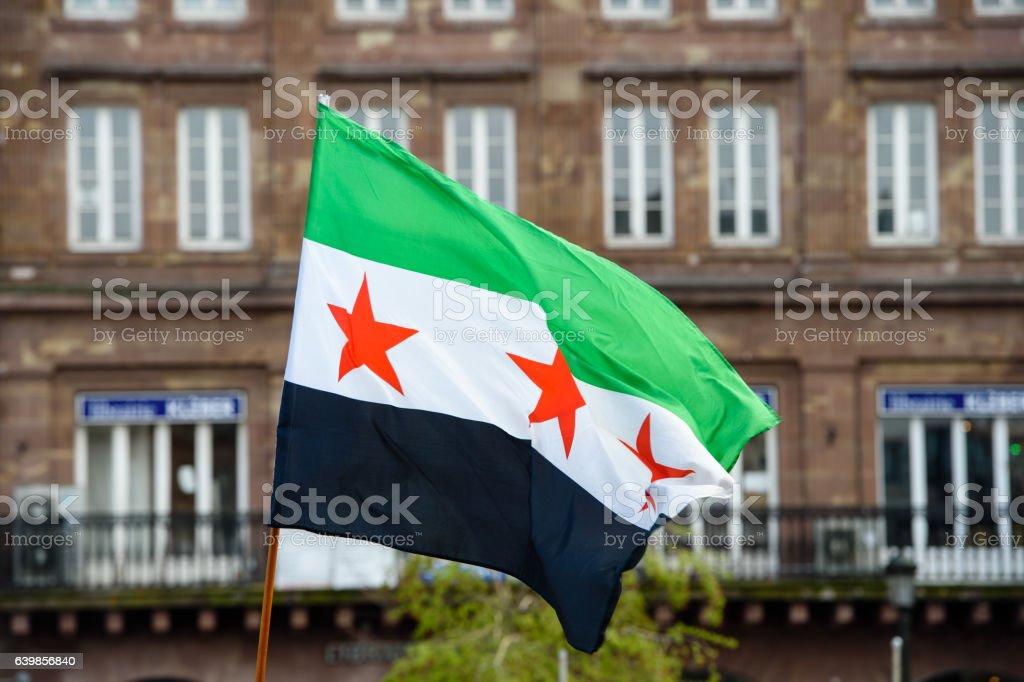 Sirio Diáspora protestas contra de la guerra de Siria - foto de stock