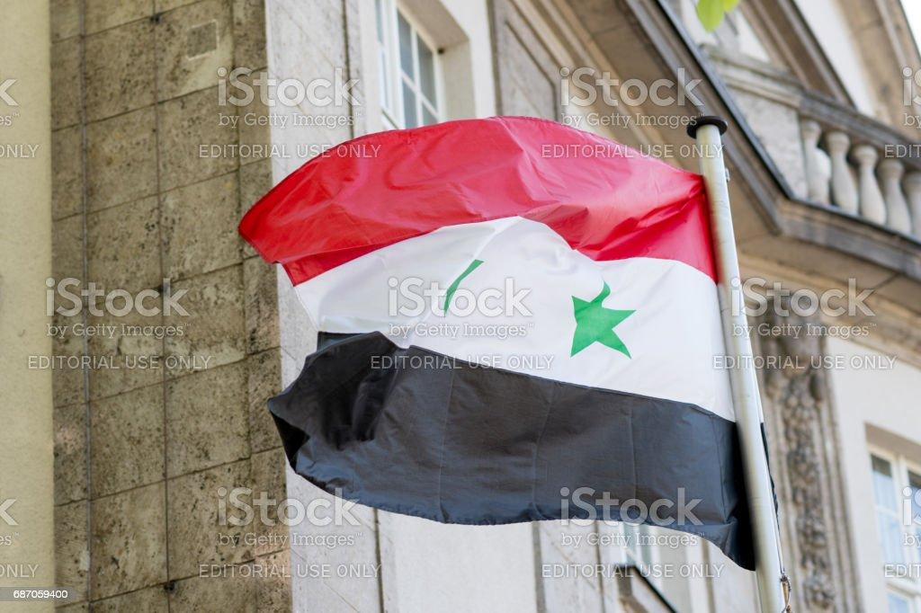 Syrian flag waving stock photo