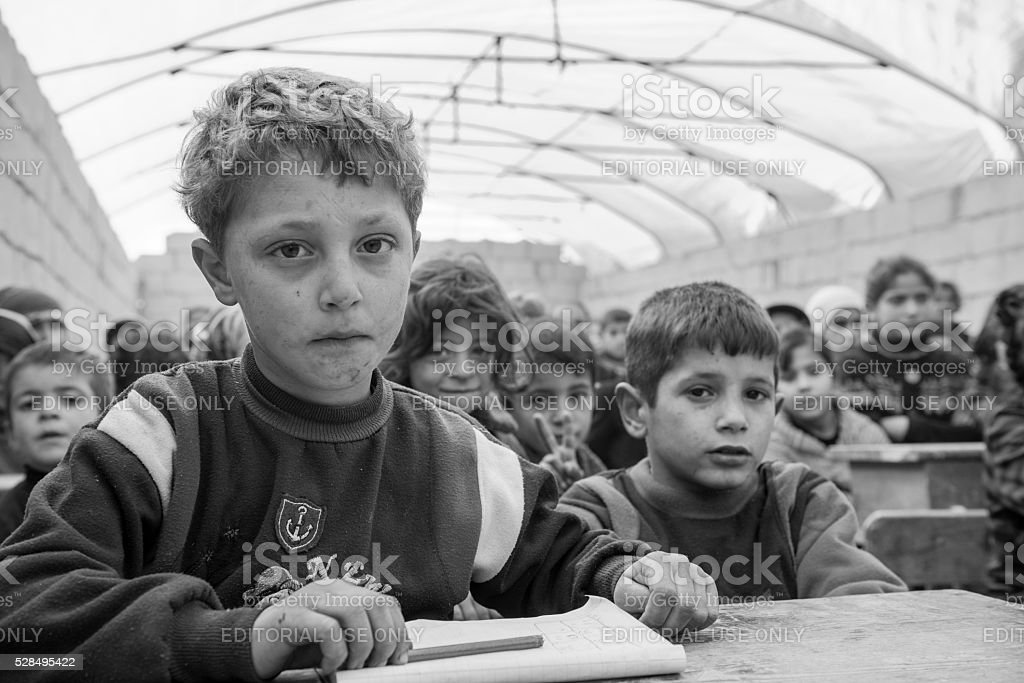Syrian IDP children in school (Atmeh, Syria) stock photo