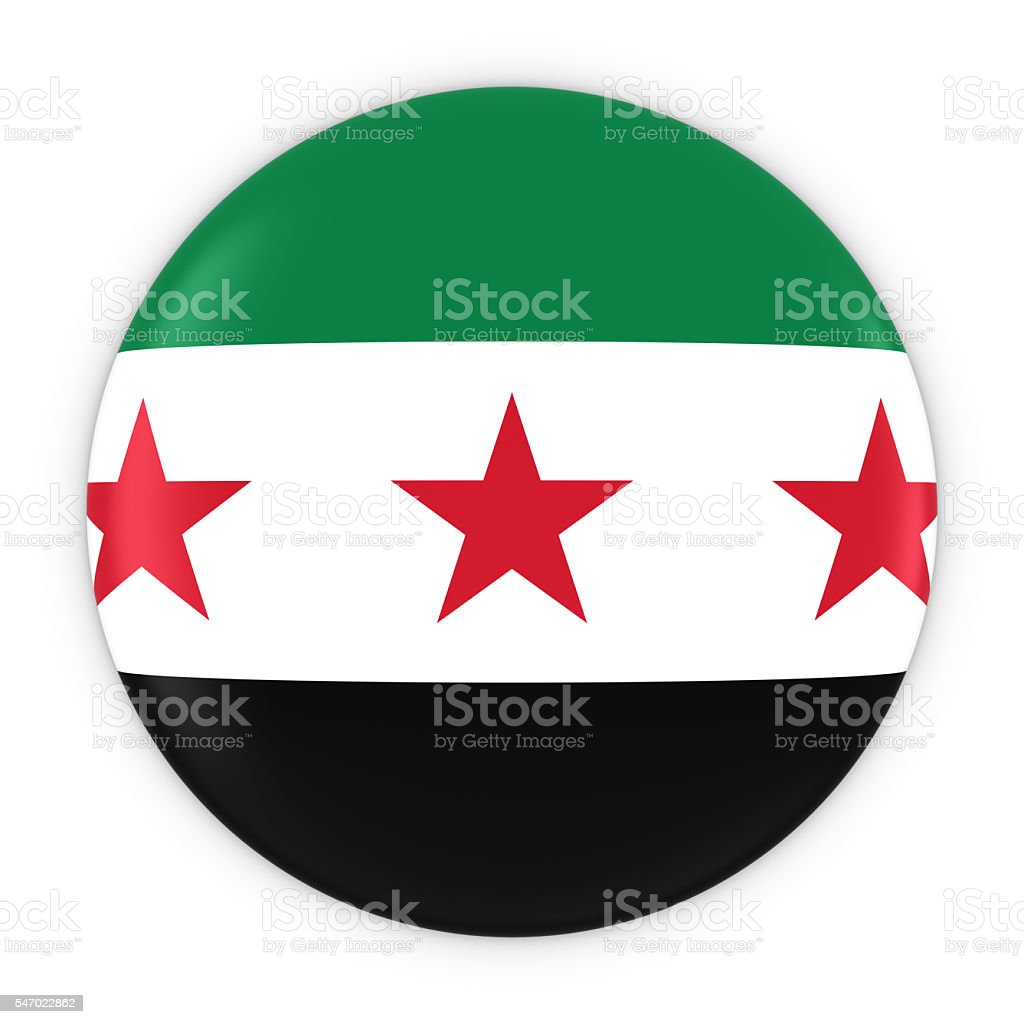 Syrian Opposition Flag Button - Flag of Syria Badge - foto de stock