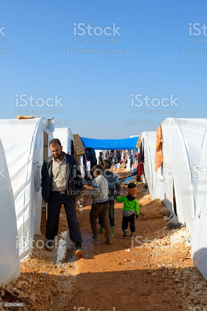Syrian refugees and refugee camp in Atmeh, Syria royalty-free stock photo