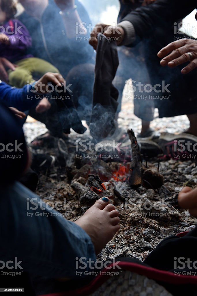 Syrian refugees at camp in Lesvos, Greece stock photo