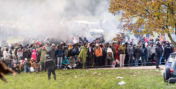 Syrian refugees at Slovenian border stock photo