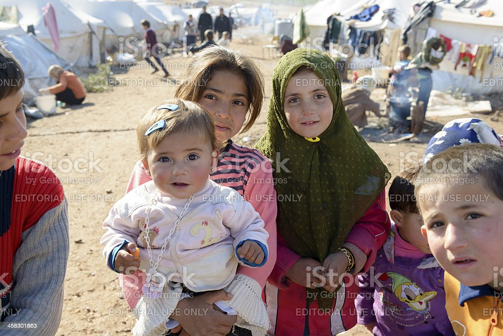 Syrian refugees inside Syria royalty-free stock photo