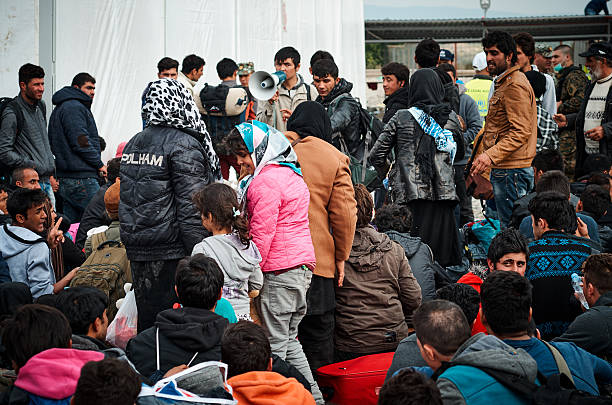 Syrian refugees living the camp in Macedonia stock photo