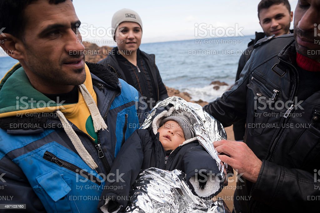 Syrian refugees on the island of Lesbos, Greece stock photo