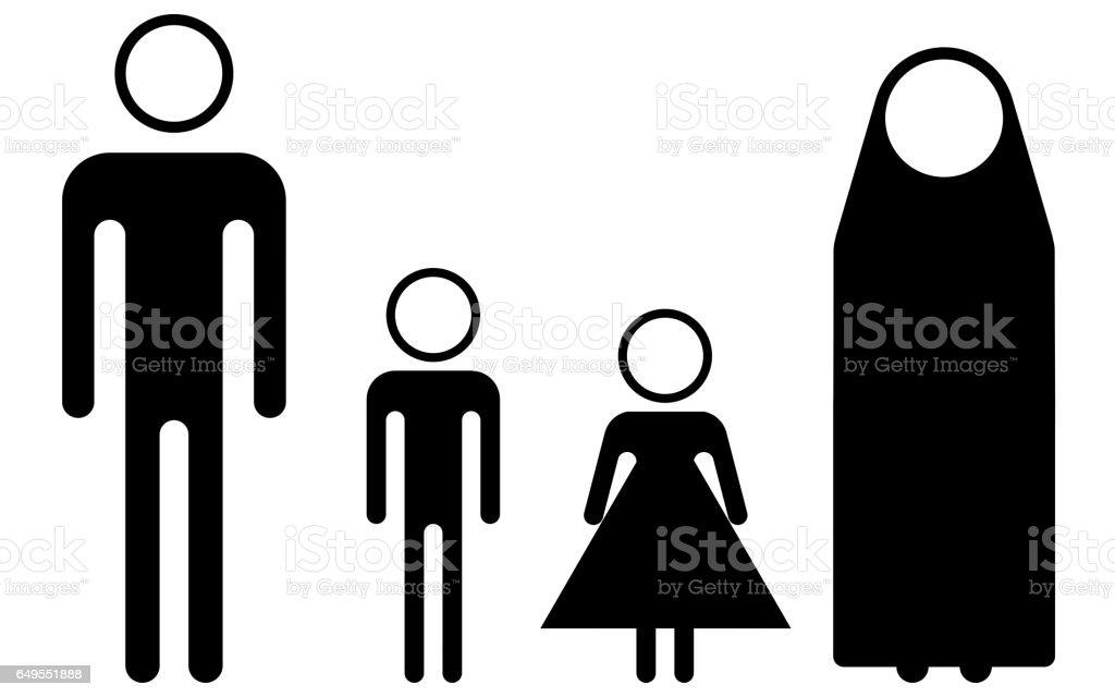 Syrian refugees (pictogram) stock photo