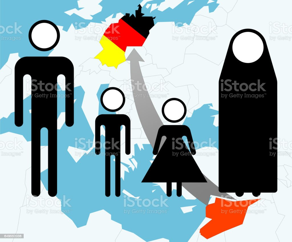 Syrian refugees (pictogram and map) stock photo