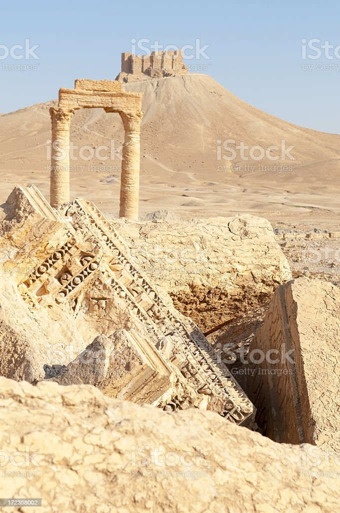 Syrian ruins in Palmyra royalty-free stock photo