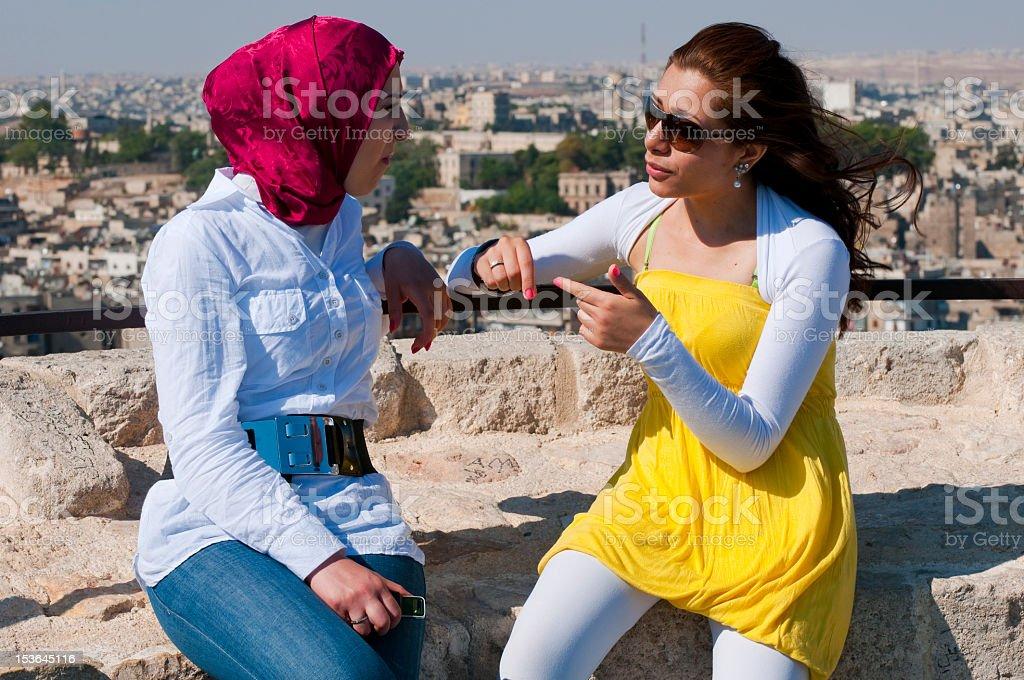 Syrien femmes à la citadelle d'Alep - Photo