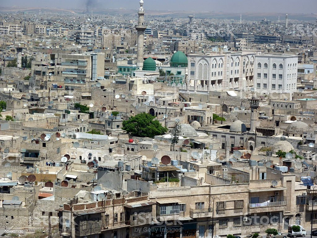Syria,Panorama of the city of Aleppo from the citadel stock photo