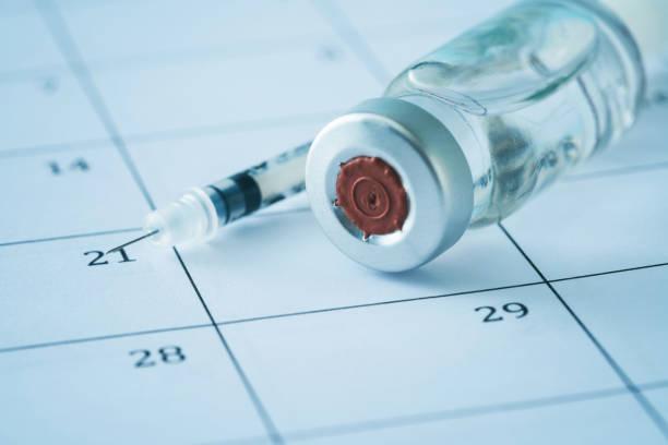 syringe and vaccine on a calendar - доза стоковые фото и изображения