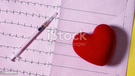 syringe heart and ekg icon