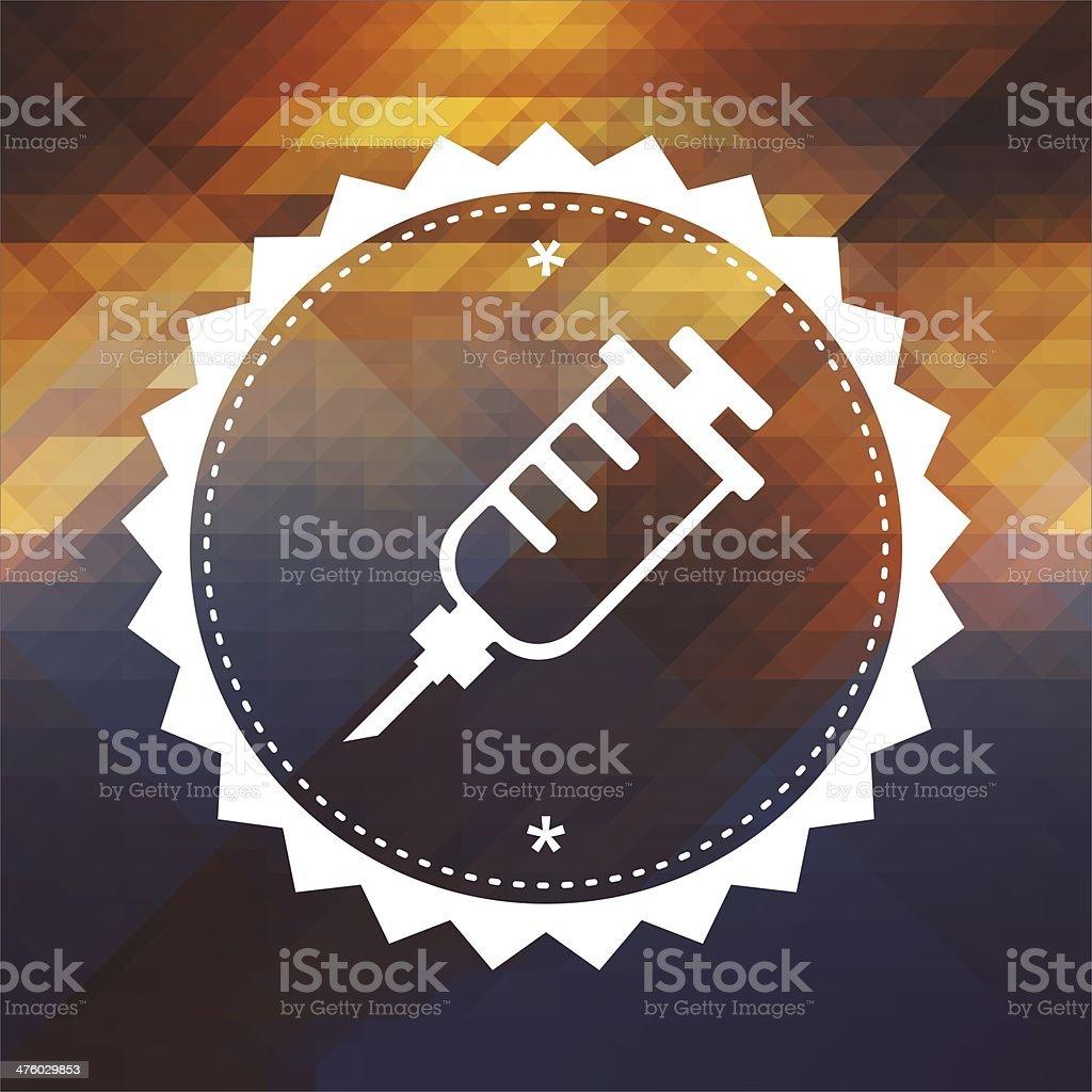 Syringe Icon on Triangle Background. royalty-free stock photo