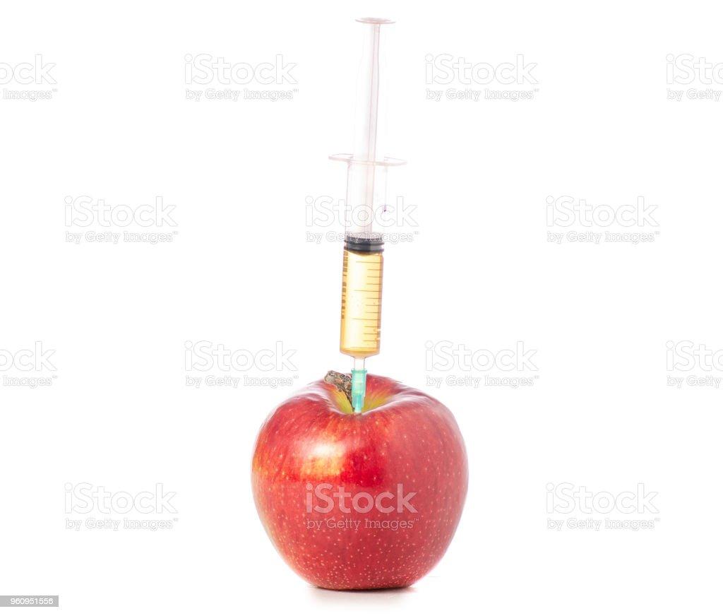 Spritze im apple - Lizenzfrei Apfel Stock-Foto
