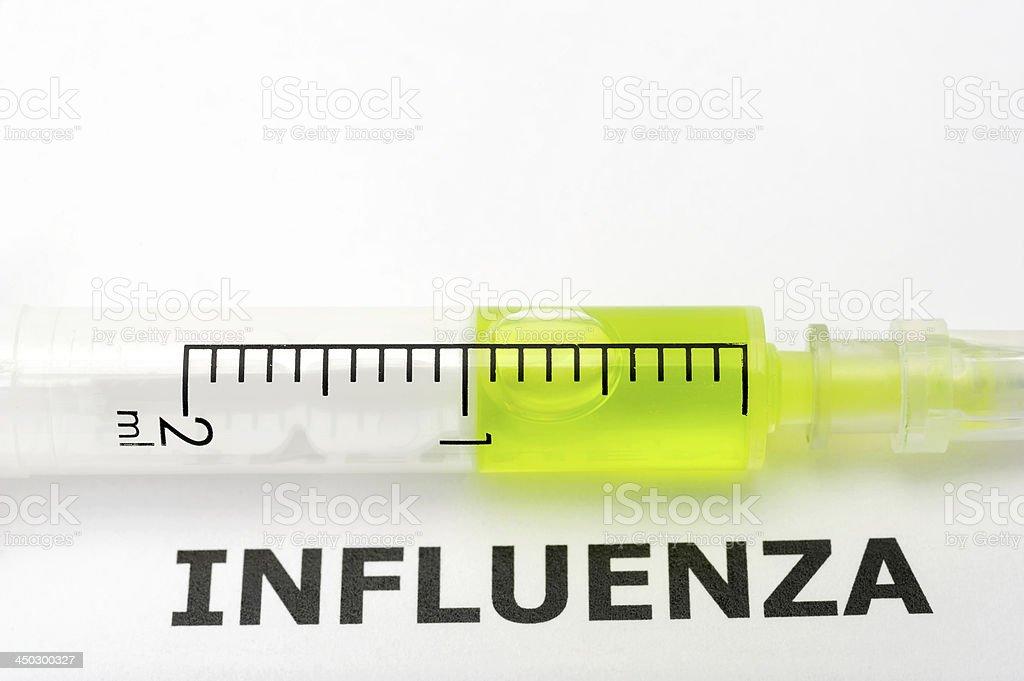 Syringe with Word Influenza royalty-free stock photo