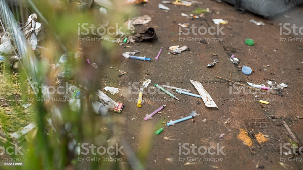 Syringes used for street drugs. stock photo
