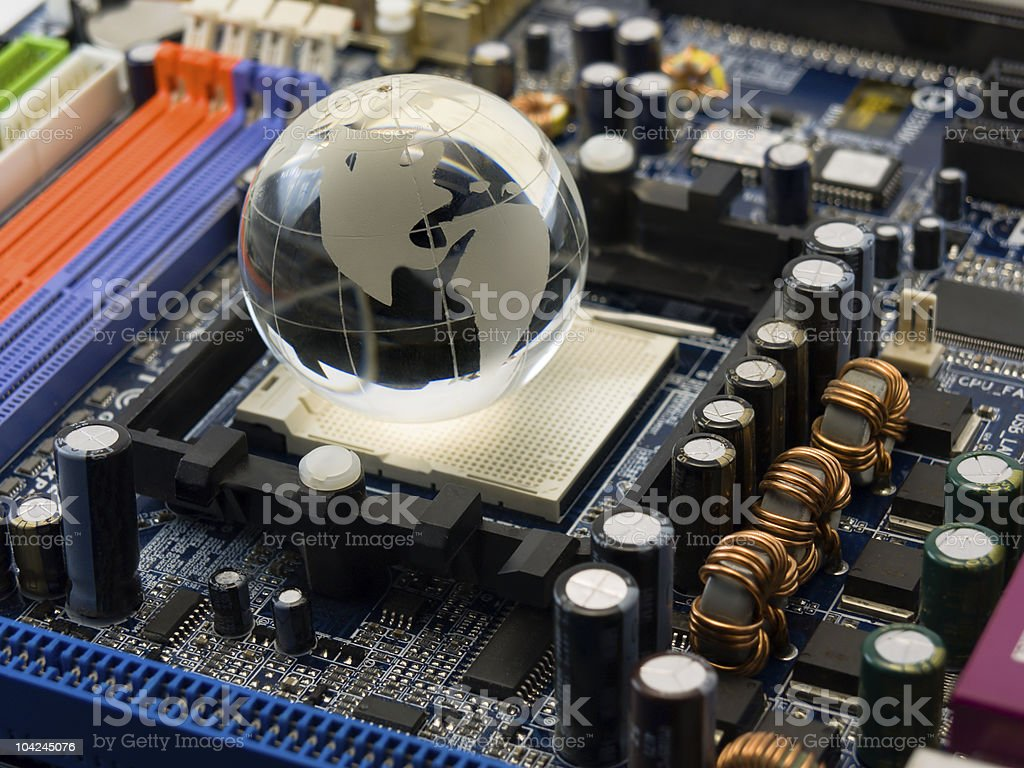 System board with globe royalty-free stock photo