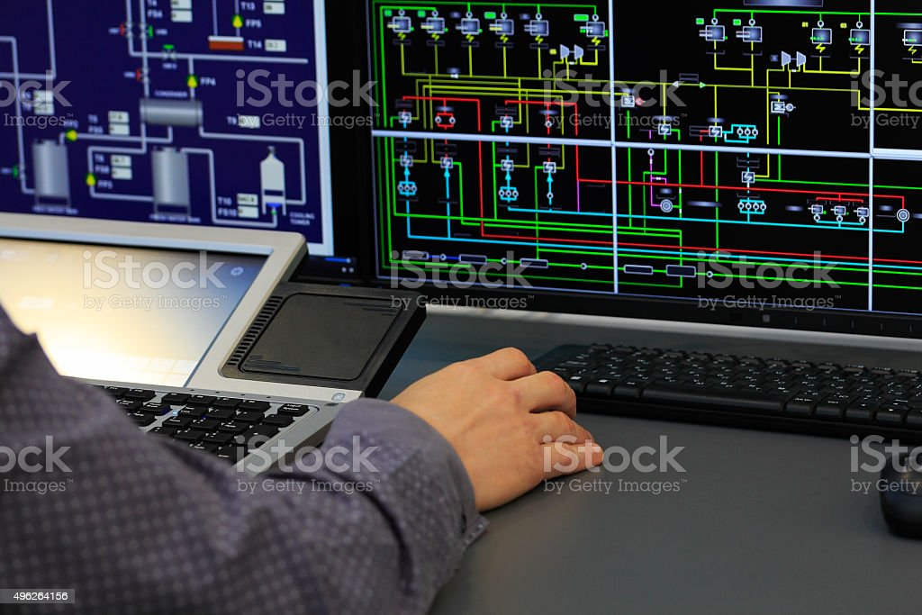 system control room stock photo