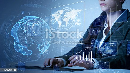 847519080 istock photo System engineering concept. GUI (Graphical User Interface). Woman engineer. 1176067186
