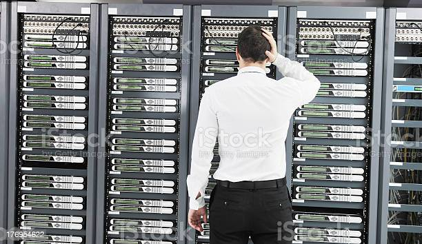 System Fail Situation In Network Server Room Stock Photo - Download Image Now