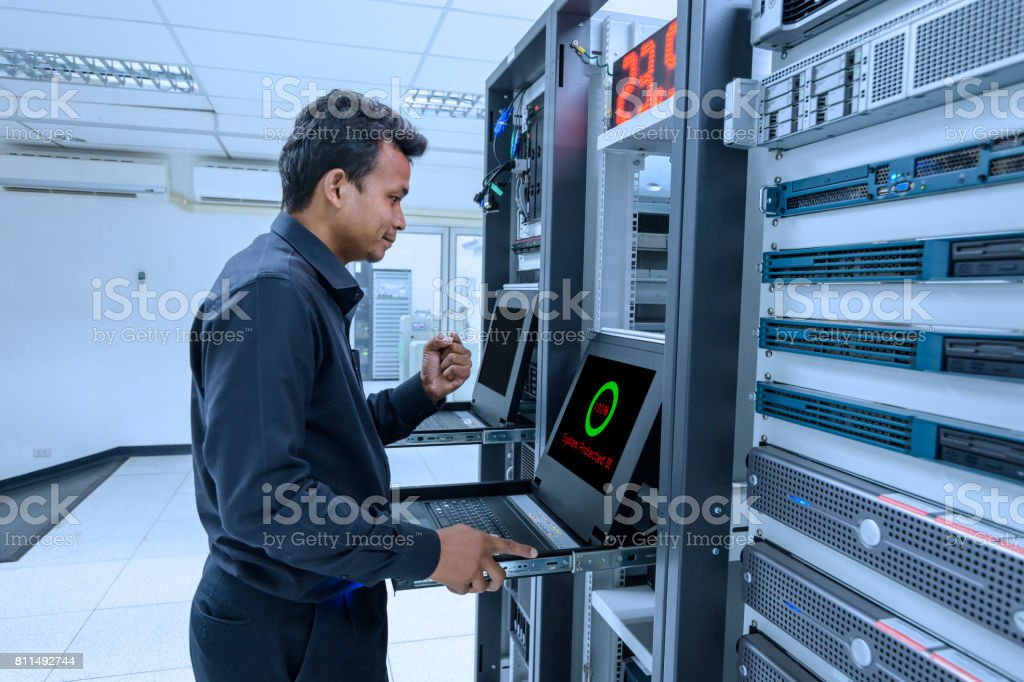 System network administrator success protected system on working stock photo