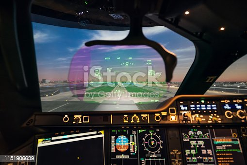 Head-up display of an aircraft.