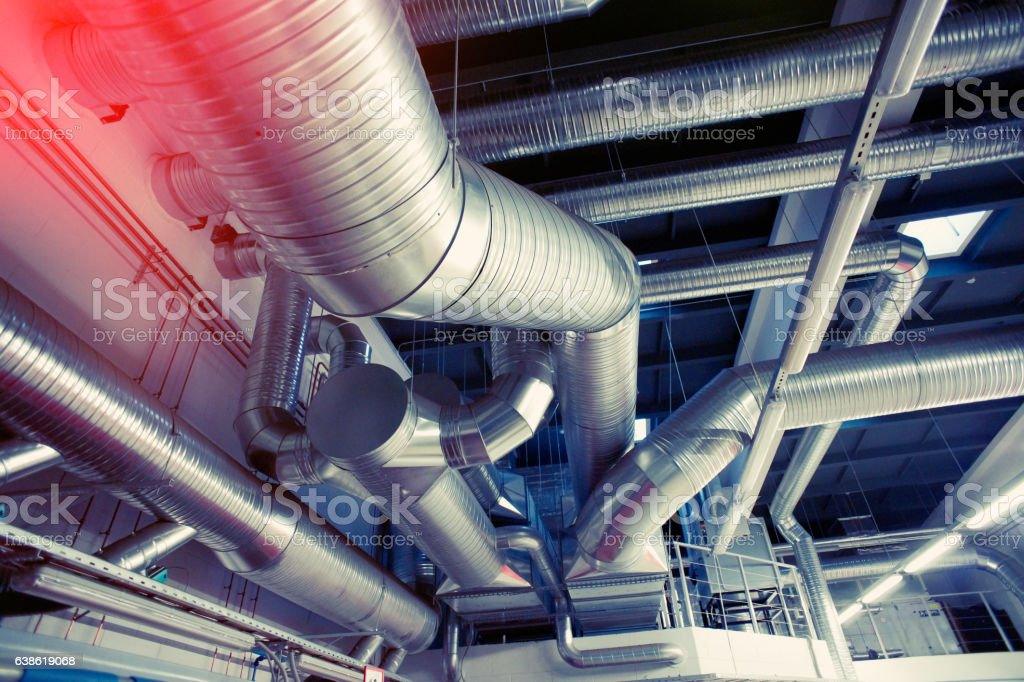 System of industrial ventilating pipes stock photo