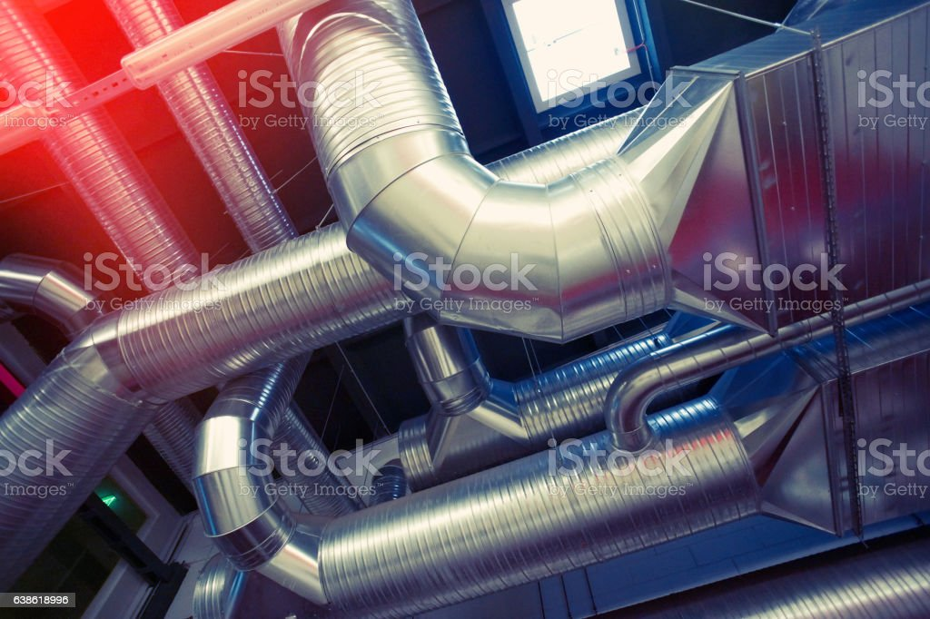 System of ventilating pipes stock photo