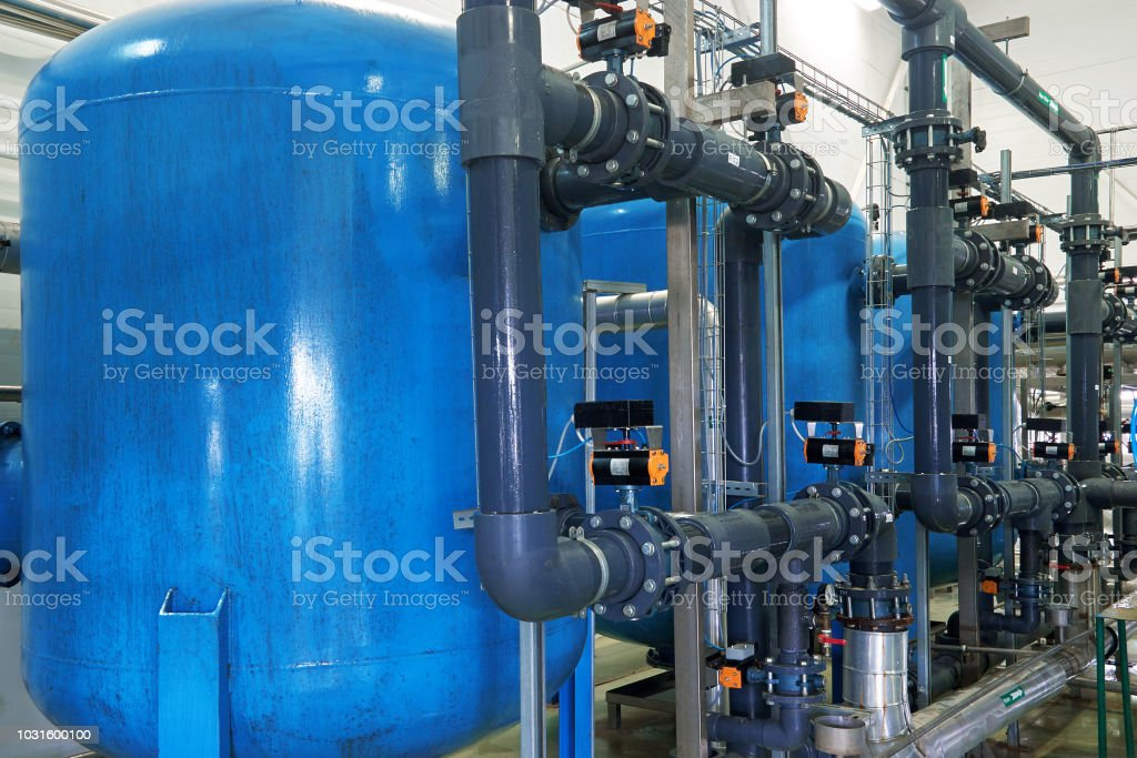 System of water treatment Modern complex of cleaning, disinfecting and preparation of drinking water Cleaning Stock Photo
