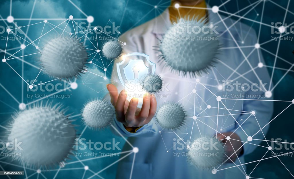 System protection from viruses and attacks. stock photo