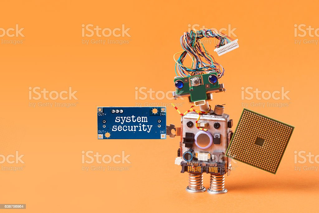 System security concept. Abstract robotic guard with cpu microchip shield stock photo
