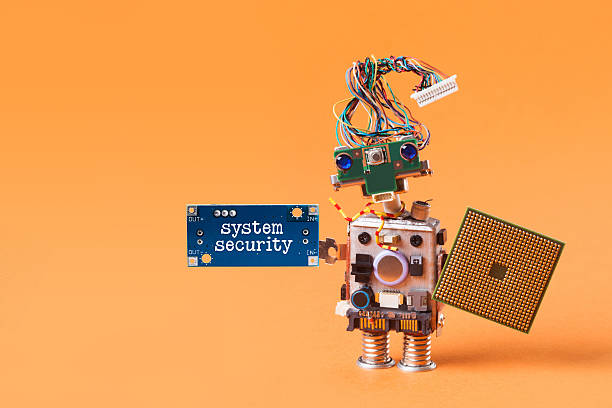 System security concept. Abstract robotic guard with cpu microchip shield – Foto
