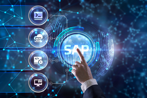 istock SAP System Software Automation concept on virtual screen data center. Business, modern technology, internet and networking concept. 1204523406