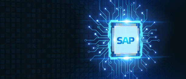 SAP System Software Automation concept on virtual screen data center. Business, modern technology, internet and networking concept. stock photo