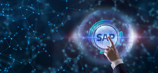 SAP System Software Automation concept on virtual screen data center. Business, modern technology, internet and networking concept stock photo