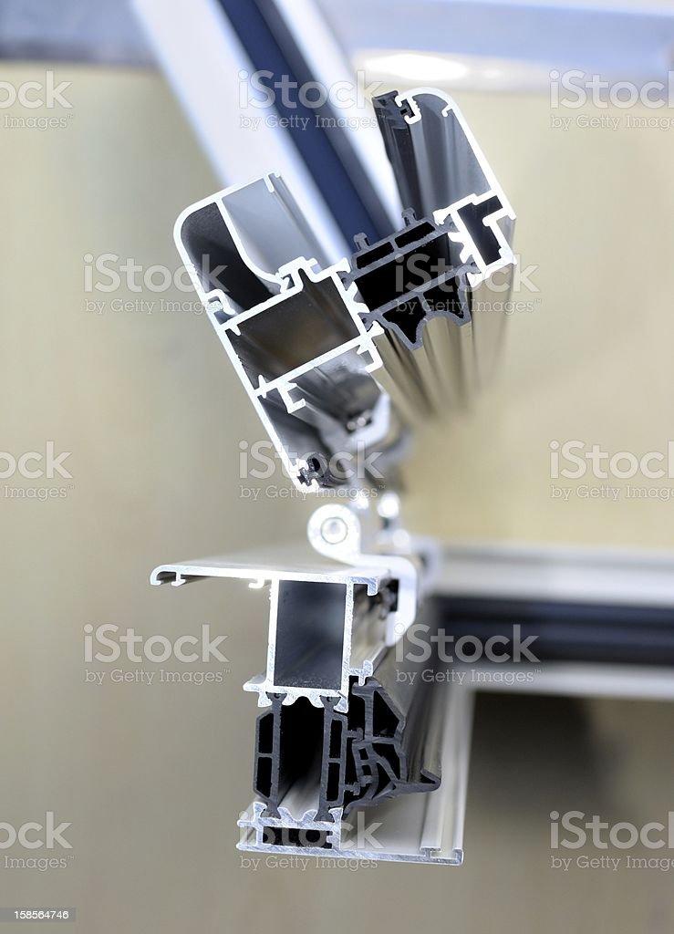 System window frames - Studio node vertical aluminum frame stock photo