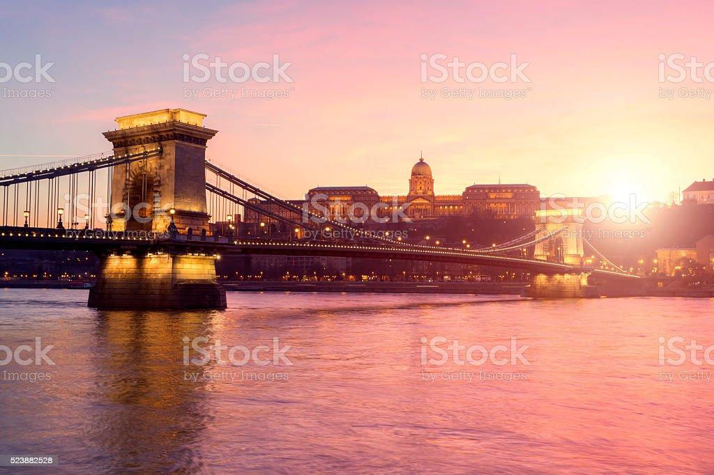 Széchenyi Chain Bridge in Budapest at sunset stock photo