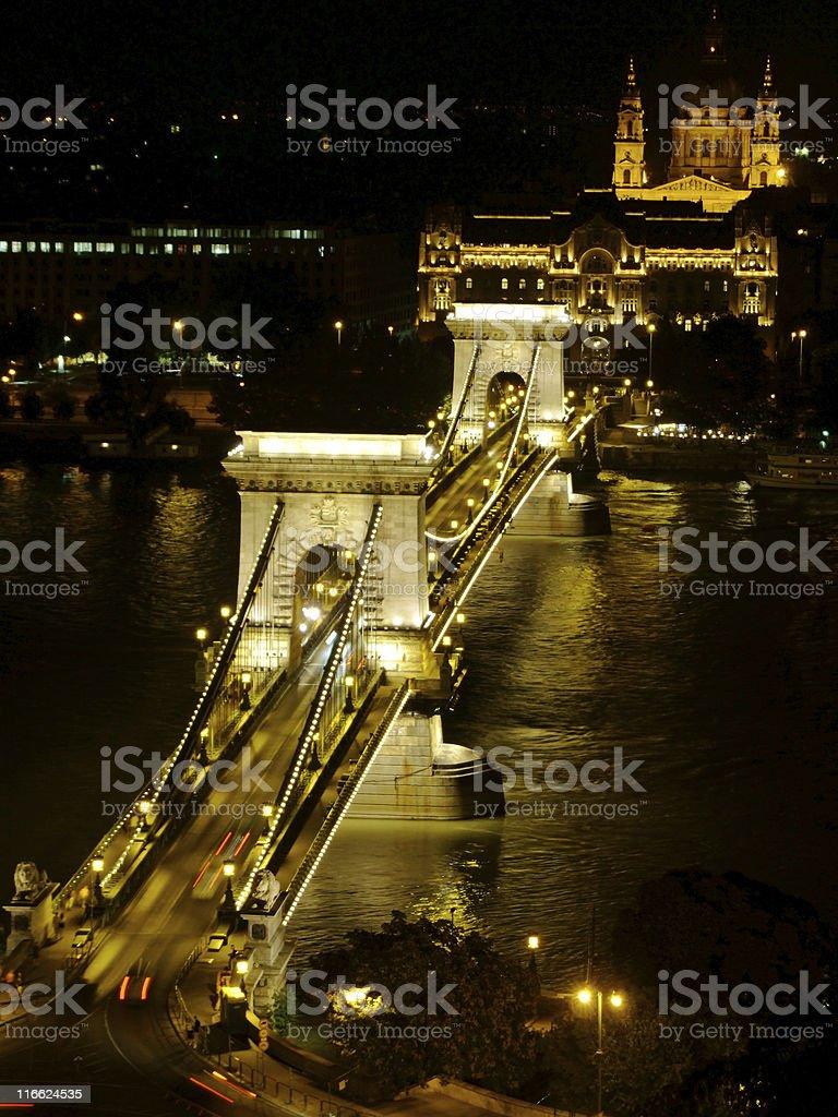 Széchenyi Chain Bridge in Budapest by night royalty-free stock photo