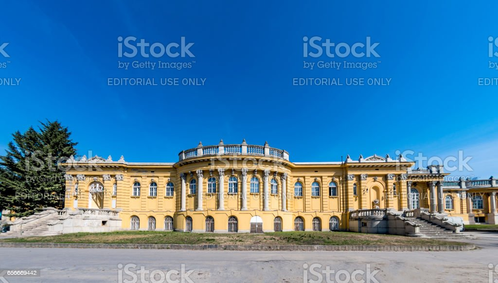 Széchenyi thermal bath and swimming pool in Budapest stock photo
