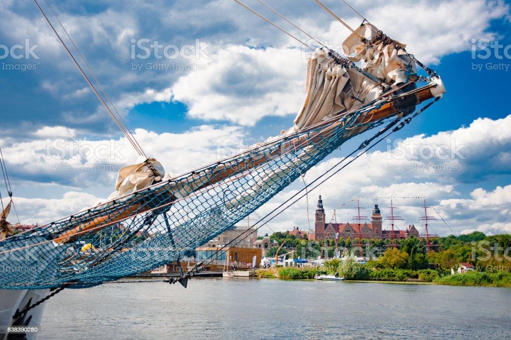 Szczecin Tall ship Races august 2017, bukszpryt i biały żagiel stock photo