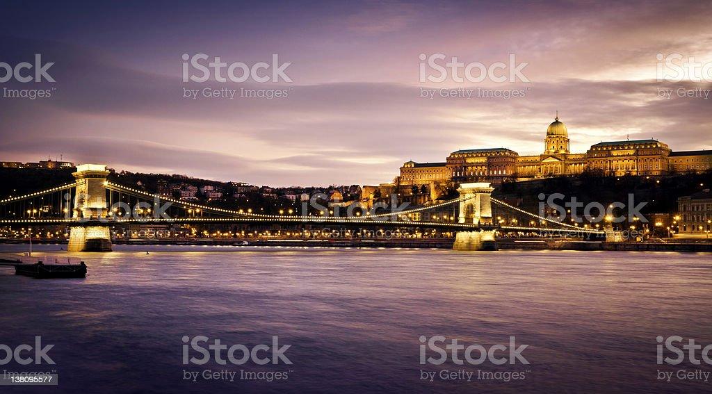 Szechenyi Chain Bridge and Royal Palace royalty-free stock photo
