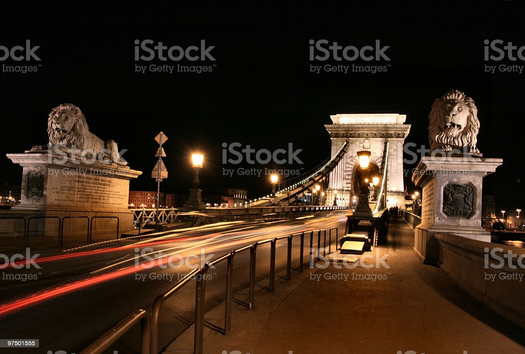 Szechenyi chain bridge at night royalty-free stock photo