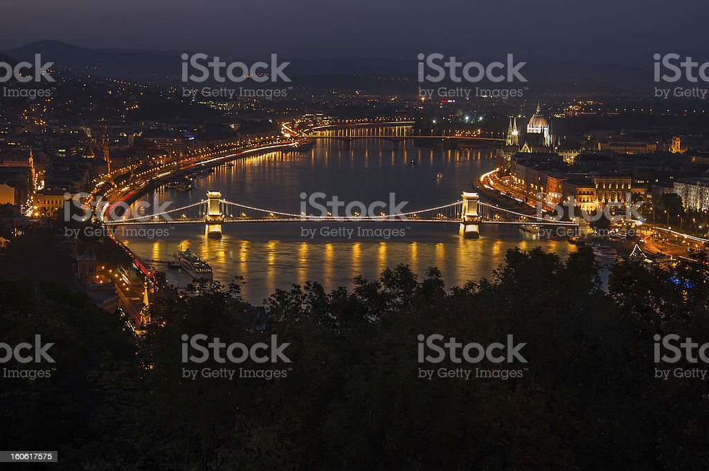 Szechenyi Chain Bridge in Budapest, Hungary - by night royalty-free stock photo