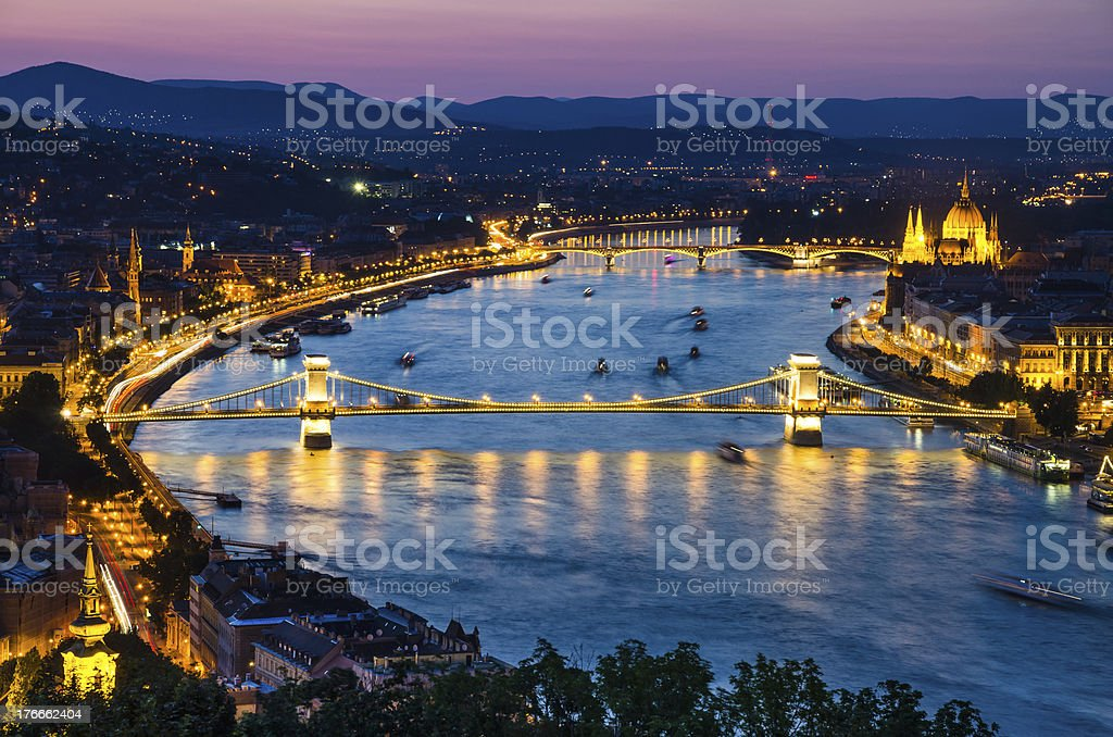 Szechenyi Chain or Lanchid bridge, Budapest royalty-free stock photo