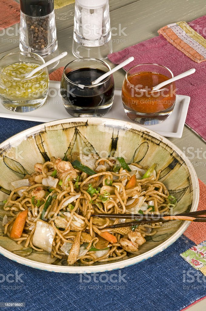 Szechuan Beef and Shrimp with Noodles stock photo
