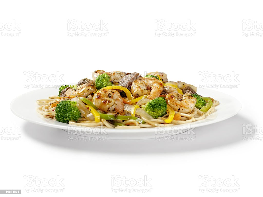 Szechuan Beef and Shrimp with Noodles royalty-free stock photo