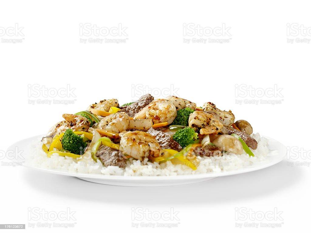 Szechuan Beef and Shrimp with Rice stock photo