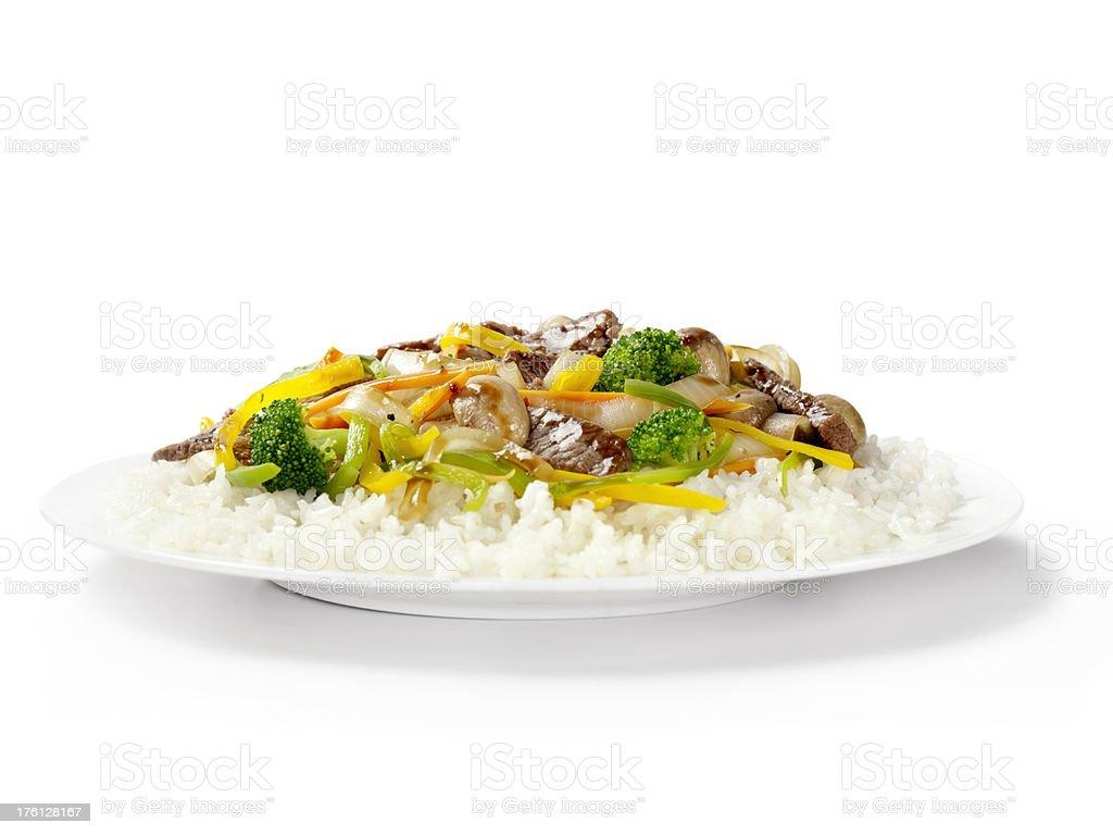 Szechuan Beef with Rice stock photo
