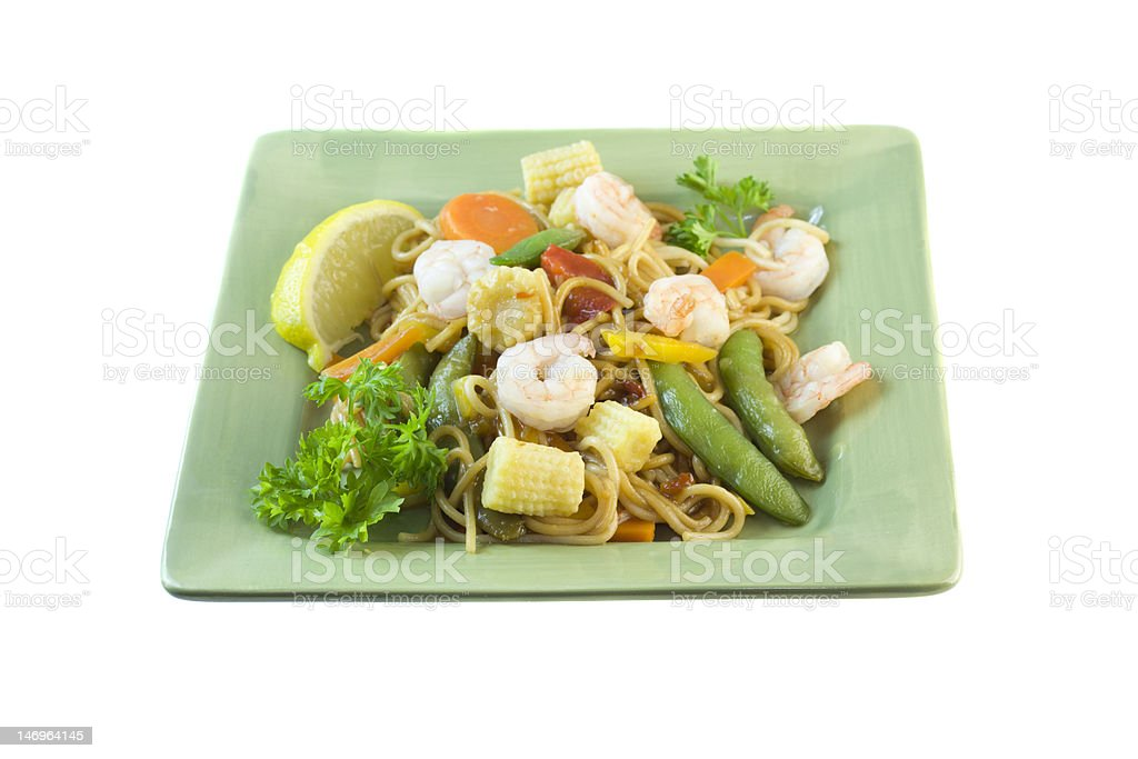 szechuan shrimp and noodle stif fry on white royalty-free stock photo